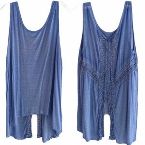 ONE WORLD lace detail blue tank top large